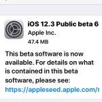 [IOS]IOS12.3 Public beta6が公開されています。